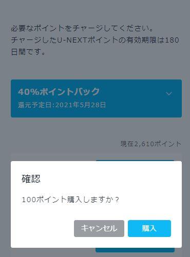 確認画面にて「購入」ボタンをクリック